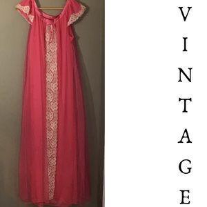 Vintage 60s Pink Diaphanous Nylon Nightgown.